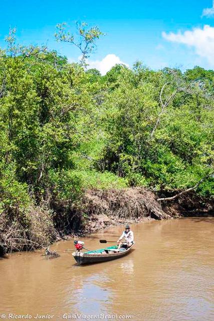 Ribeirinho perto do mangue, com a vegetação exuberante do Delta do Parnaíba, Piauí. Photograph by Ricardo Junior / www.ricardojuniorfotografias.com.br