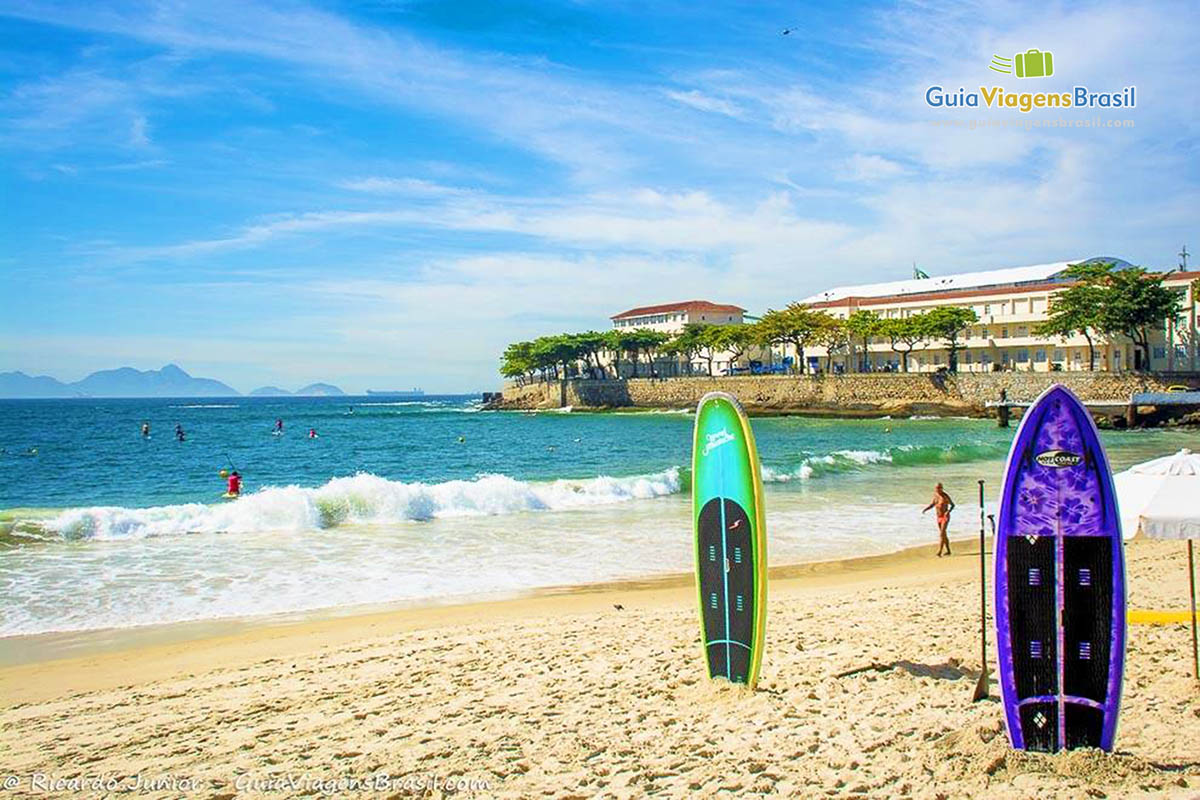 Foto praia e forte de Copacabana, Rio de Janeiro, RJ.