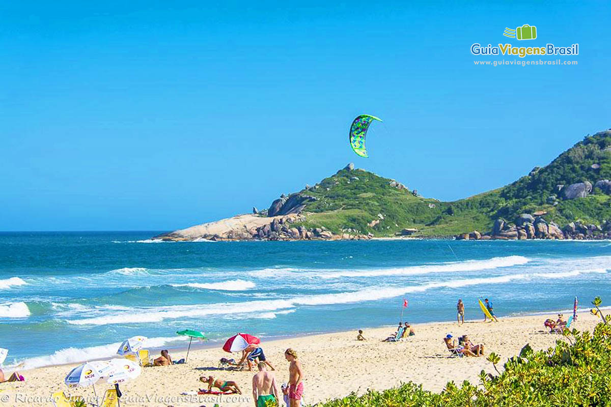 Foto kitesurf na Praia Mole, Florianópolis, SC.