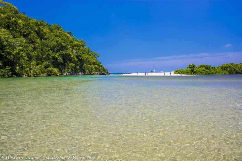 Foto águas calmas da Praia do Puruba, Ubatuba, SP.